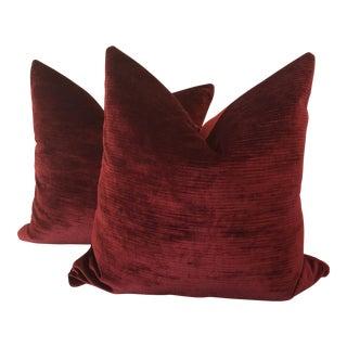 "Bordeaux Linen Velvet 22"" Pillows - A Pair"