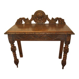 Carved Oak English Console Table For Sale