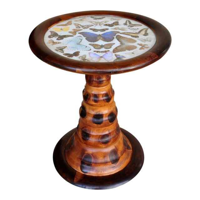Brazilian Butterfly Table With Monkey Puzzle Wood Base For Sale