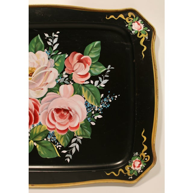 French Vintage French Black Tole Tray With Floral Design For Sale - Image 3 of 9