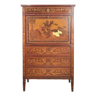 1920s Italian Marquetry Cabinet with Fall Front Bar For Sale