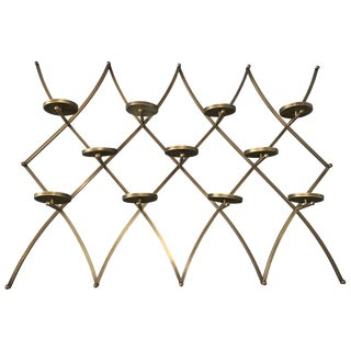 Charles Hollis Jones Treillage Wall Candle/Plant Holder Made in Solid Brass For Sale