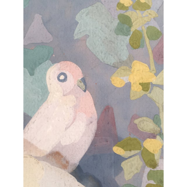 Art Deco Gouache Painting of Doves in a Floral Landscape For Sale In Boston - Image 6 of 6