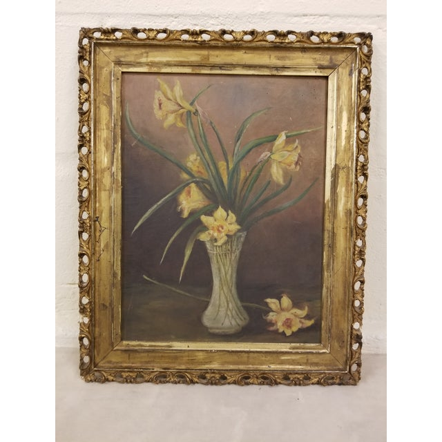 Classic Victorian floral still. Life painting in antique original frame