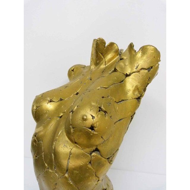Gold Brutalist Life Size Female Torso Sculpture For Sale - Image 8 of 10