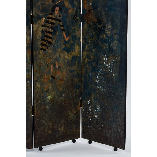 A unique and stunning paravento screen made by Eugene Klementieff in the Japonisme style. Wood, paint and collaged fabric.
