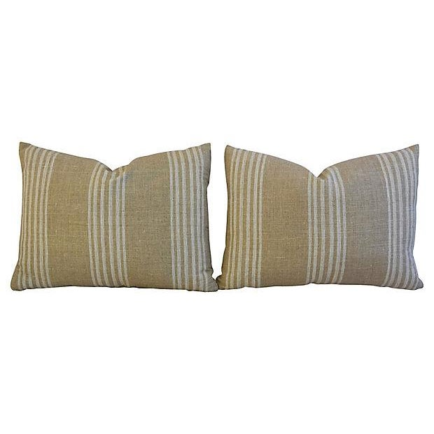 Custom Tan & White French Ticking Feather & Down Pillows - A Pair - Image 5 of 11