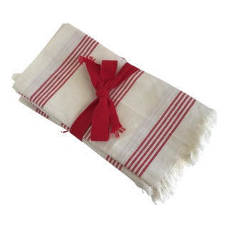 Red & White Striped Cloth Napkins - Set of 6