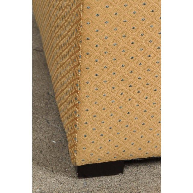 Fabric Pair of Gold Cube Upholstered Moroccan Ottomans, Poufs For Sale - Image 7 of 9