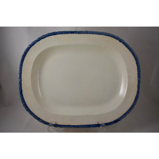 19th C. Leeds Blue Feather or Shell Edge Pearlware Oval Platter For Sale - Image 9 of 9