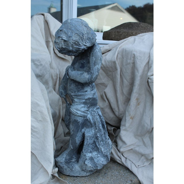 Lead Vintage Boy Fishing Garden Statue For Sale - Image 7 of 10