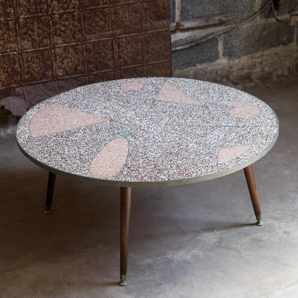 Modernist Terrazzo Tile Top Coffee Table. Decorative Design. Four Tapered  Wood Legs Cocktail Table