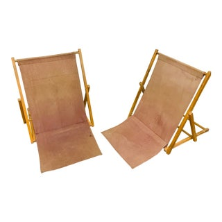 Vintage Tropical Chic Folding Camp Beach Sand Chairs - a Pair For Sale