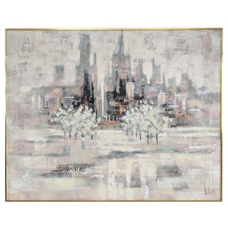 Abstract Cityscape Pastel Oil on Canvas Painting by Lee Reynolds For Sale