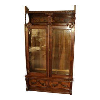 Walnut Victorian Step Front Bookcase, Display Cabinet