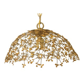 French Gold Filigree Pendant Light For Sale