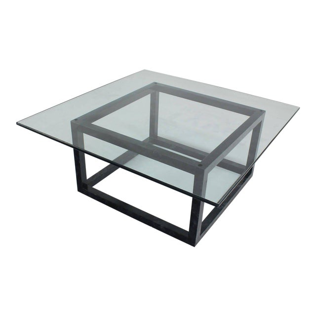 Large Mid Century Modern Thick Glass Top Table Cube Shape Base For Sale