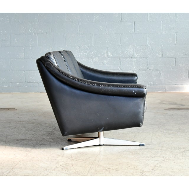 Danish Airport Style Sofa Model Matador in Black Leather by Eran in 1966 For Sale - Image 9 of 13