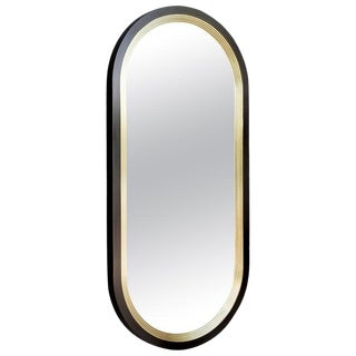 Luna Wall Mirror in Blackened Brass and Satin Brass Finish For Sale