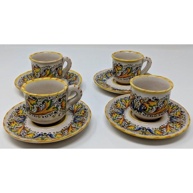 Ceramic Demitasse Cup & Saucer Set - Service for 4 For Sale - Image 7 of 8
