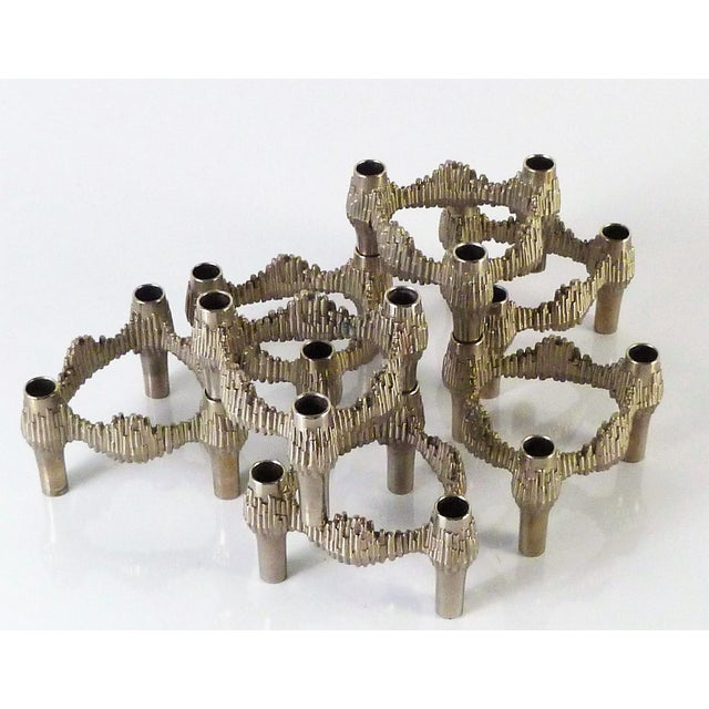 Germany 1970s Nagel Brutalist Stacking Quist Variomaster Candleholders - 7 Pc. Set For Sale - Image 10 of 11