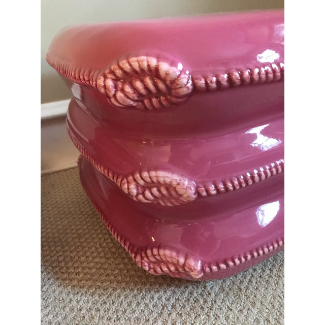 Pair of Vintage Italian Ceramic Pillow Stack Stools or Tables by Marioni For Sale - Image 6 of 9