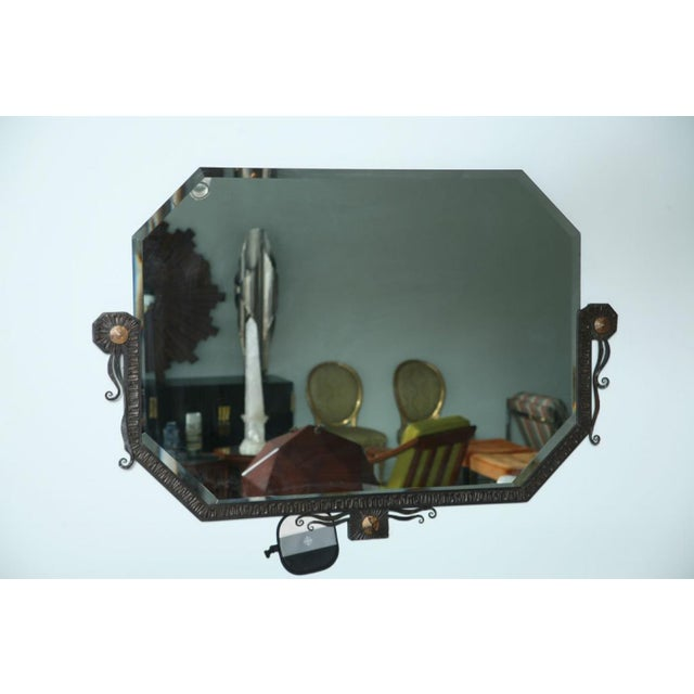 Art Deco Pair of French Art Deco Hammered Steel and Bronze Mirrors, Paul Kiss For Sale - Image 3 of 9