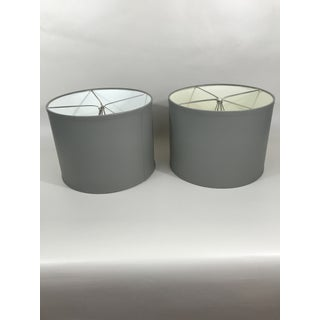 Gray Painted Drum Lampshades - a Pair Preview