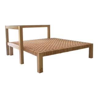 Early 21st Century Teak & Leather Day Bed For Sale