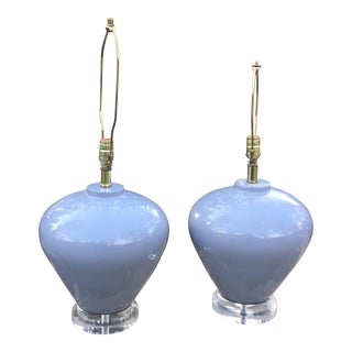 Vintage Mid-Century Lucite Gray Brass Lamps - A Pair