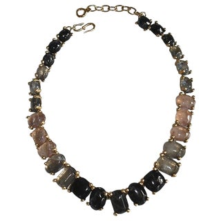 Goossens Paris Hand Tinted Single Row Rock Crystal Necklace For Sale