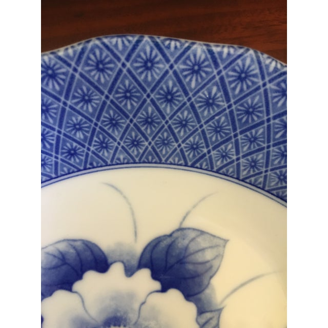 Japanese Style Scalloped Blue Floral Bowls - Set of 2 For Sale In West Palm - Image 6 of 12