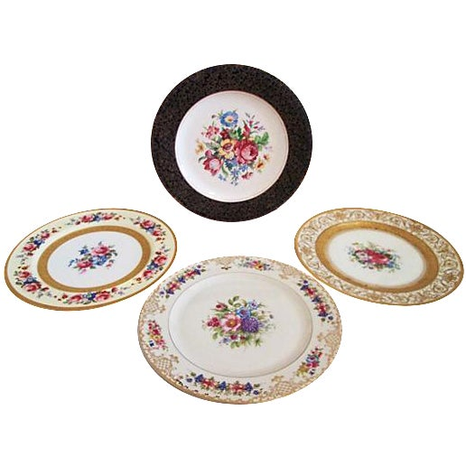 European Gilded Dinner Plates - Set of 4 - Image 1 of 8