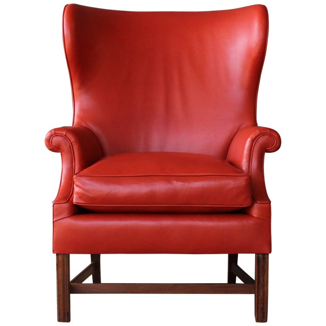 1940s Orange Leather Wingback Armchair For Sale