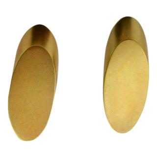 Robert Lee Morris Clip Earrings of Gilt Diagonal Disks For Sale
