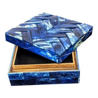 Contemporary Bone Inlaid Indigo Blue Covered Decorative Box For Sale