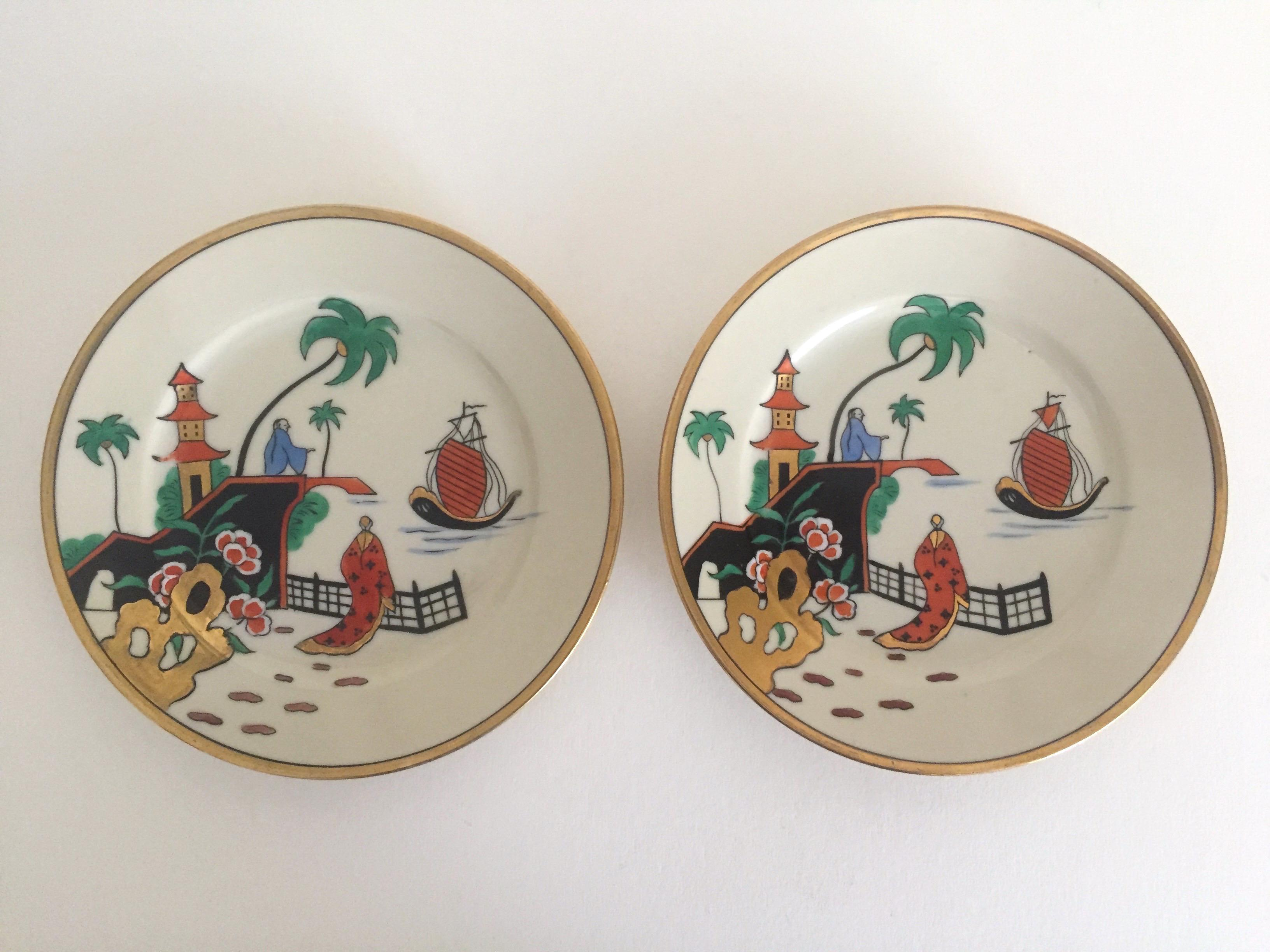 Vintage Noritake Japan Mid Century Modern Hand Painted Decorative Plates - a Pair - Image 2  sc 1 st  Chairish & Vintage Noritake Japan Mid Century Modern Hand Painted Decorative ...