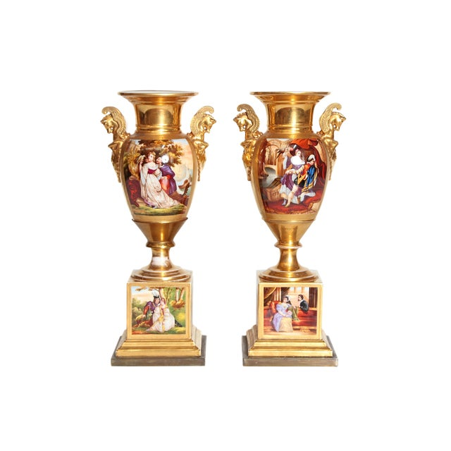 19th Century Pair of French Porcelain Gilt Urns With Scenes For Sale