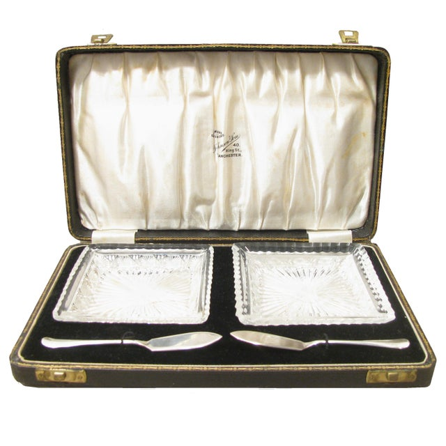 Lovely pair of English antique crystal pate serving plates and sterling silver spreaders in a satin and velvet lined...