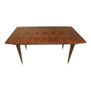 1940s French Art Deco Exotic Macassar Ebony Writing Desk / Dining Table For Sale