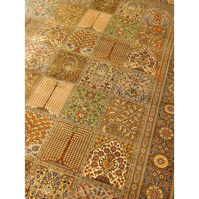 """Hand Knotted Pure Silk Persian Qom Rug - 4'10"""" x 4'10"""" - Image 9 of 9"""