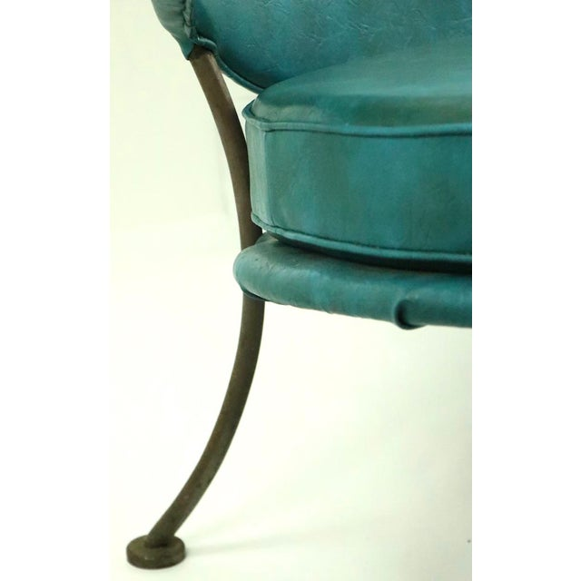 Mid Century Wrought Iron and Vinyl Sofa Settee Loveseat For Sale - Image 9 of 11