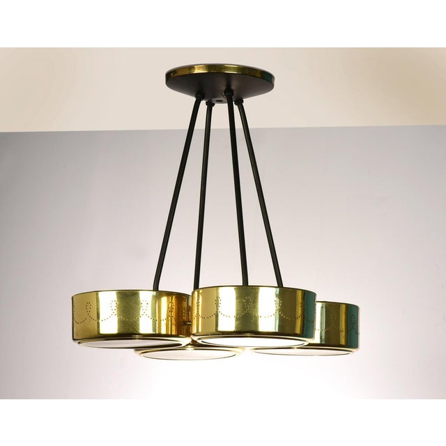 Gerald Thurston for Lightolier Four Shade Chandelier, Circa 1950's For Sale - Image 9 of 9