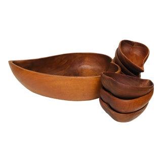 Vintage Leaf Shaped Wooden Salad Serving Bowls -Set of 8 For Sale