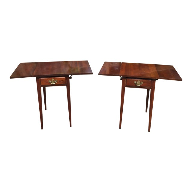 Cherry Drop Leaf End Tables - A Pair - Image 1 of 11