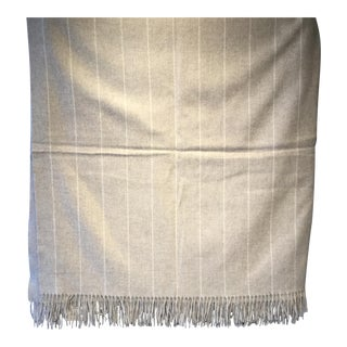 Lambswool Throw Beige Pinstripe Made in England For Sale