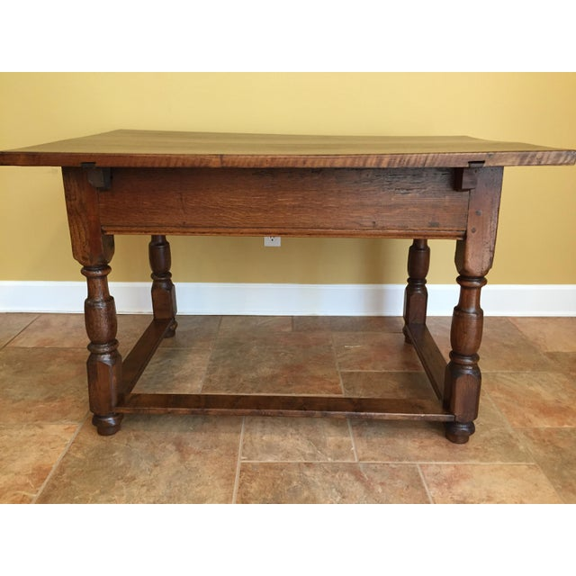 Cottage Antique Hand Hewn Mahogany Table For Sale - Image 3 of 12