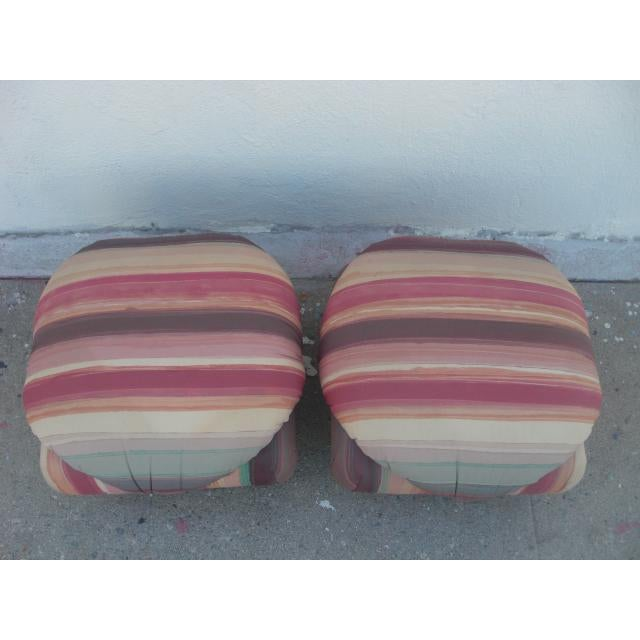 1980s Vintage Upholstered Poofs- A Pair For Sale - Image 4 of 13
