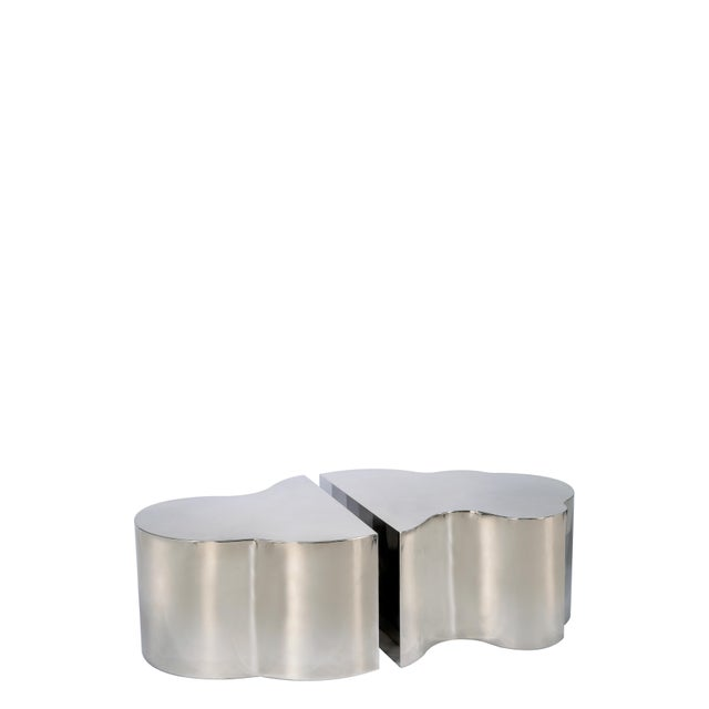 Luca Coffee Tables in Silver - a Pair For Sale - Image 4 of 4