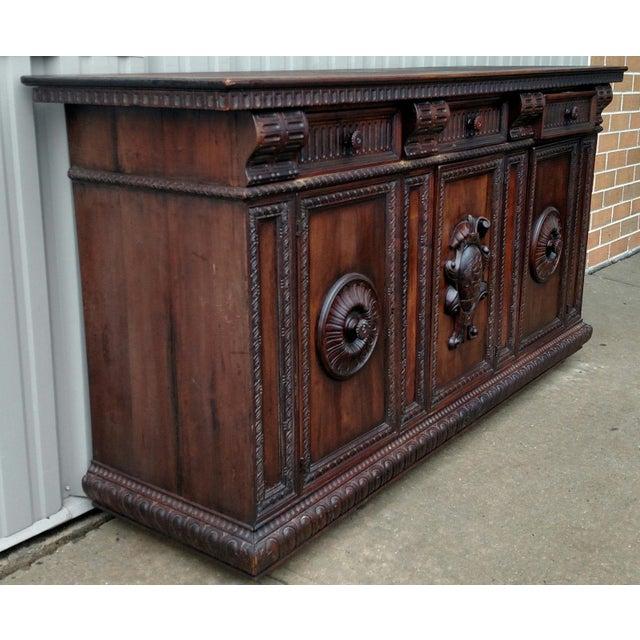 19th C. Renaissance Revival Figural Carved 3 Door Sideboard Server - Image 3 of 10